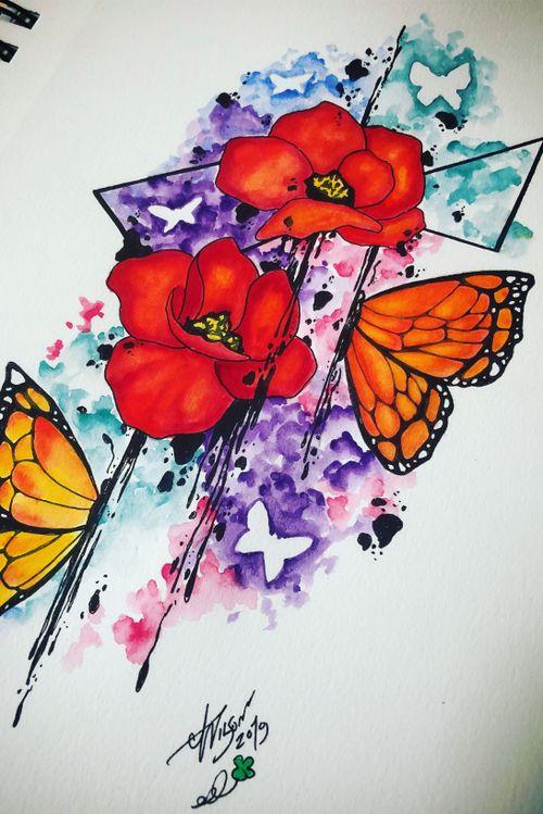 Poppies and butterflies.  #poppydesign #floraldesign #butterflydesign #watercolortattoodesign #abstractart