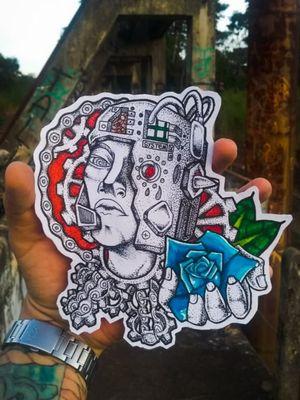 Resistência ao espírito #tattoo #neotradicional #art #biomech #biomechanical #engine #rose