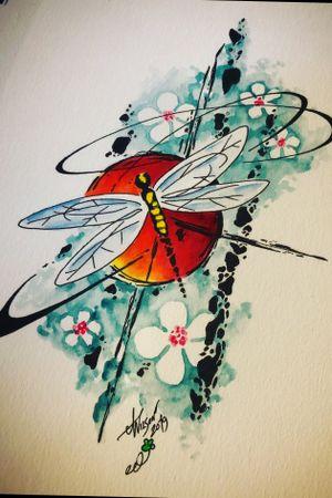 Dragonfly! #abstract #watercolor #dragonflydesign #staugustinetattooartist #floridatattooartist