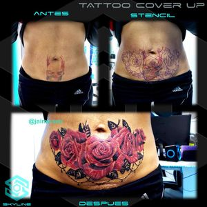 "[TATTOO COVER UP] Composición ""Rosas sobre tatuaje acuarelado"" Estilo Realismo. Full color. Diseño propio personalizado. Una Sesión. Artista: FB/INSTA: @jaime.sxe #SkylineStudio #TattooDesign #CreateYourself"