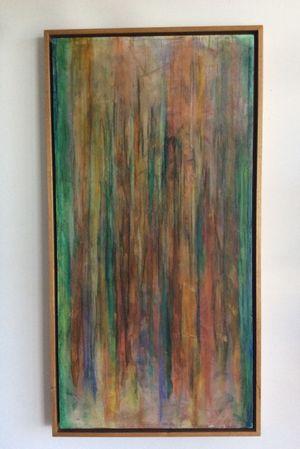"""Rainbow Eucalyptus"" mixed media painting available at the tattoo shop art gallery"