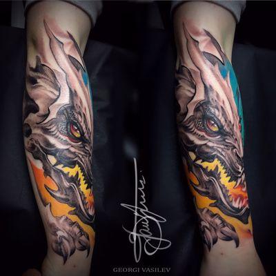 #dragon sleeve first sitting #ink #fantasy #art #custom #freehand