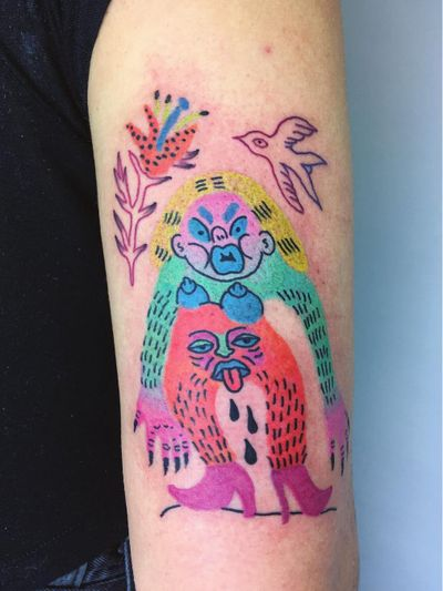 Awesome tattoo by Charline Bataille #CharlineBataille #queertattooer #queer #ignoranttattoo #illustrative #color #glam #punk #radical #prograssive #arthouse #unique