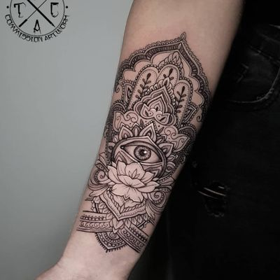 Ornamental tattoo by Leigh Tattoos #LeighTattoos #ornamentaltattoos #ornamental #ornaments #jewels #decorative #jewelry #adorn #flower #floral #filigree #mandala #dotwork #eye #hamsa #lotus