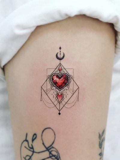 Ornamental tattoo by Tattooist Dal #TattooistDal #ornamentaltattoos #ornamental #ornaments #jewels #decorative #jewelry #adorn #gems #crystals #diamonds #pearls #floral #heart #Moon