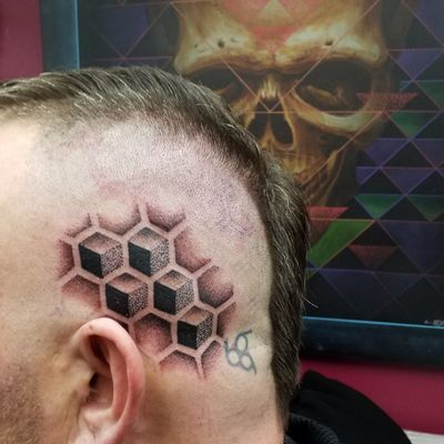 3D cubes in hexagons #3D #cube #hexagon #honeycomb #dotwork #dotworkers #dotworktattoo #sacredgeometry #geometry #geometric #pattern #maryjane #maryjanetattoo #tatuering #tatueringstockholm