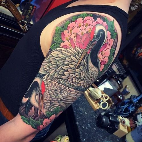 Crane tattoo by Chris Crooks #ChrisCrooks #cranetattoos #crane #birds #feathers #wings #flying #animal #nature #Japanese #color #peony