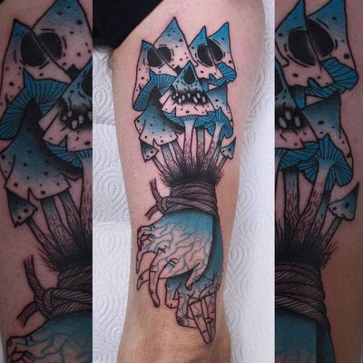 Psychedelic dark art tattoo by Łukasz Sokołowski #LukaszSokolowski #psychedelic #darkart #illustrative #strange #surreal #surrealism #trippy #dark #horror #mushrooms #hands