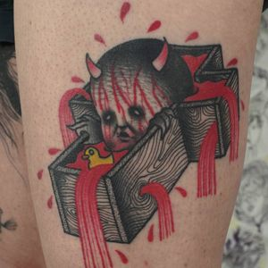 Psychedelic dark art tattoo by Łukasz Sokołowski #LukaszSokolowski #psychedelic #darkart #illustrative #strange #surreal #surrealism #trippy #dark #horror #cross #coffin #blood #rubberduck #satan