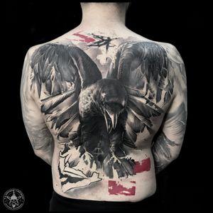 trash polka crow #vladimircherep #colortattoo #trashpolka #raven #crow #trashpolkatattoo #inkfreakz #blackandgrey #grindcore #tattooinmoscow #besttattoo #realistictattoo #brand #style #tattooinrussia #moscow #grindcoretattoo #владимирчереп #трэшполька #тату #бренд #стиль