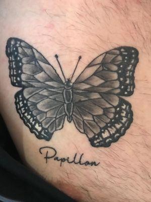 Healed Papillon, with my friends, first chest work an upincoming artist. #Papillon #Blackbuttetfly #Omenofdeath