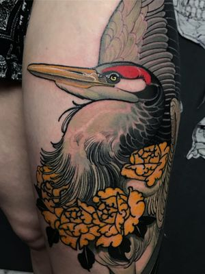 Crane tattoo by Jacobi Holy Crab #JacobiHolyCrab #cranetattoos #crane #birds #feathers #wings #flying #animal #nature #neotraditional #peony #neojapanese #color