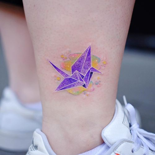 Crane tattoo by Jury Pastel #JuryPastel #cranetattoos #crane #birds #feathers #wings #flying #animal #nature #origami #papercrane #puddle #cute #small #color #sparkle #stars