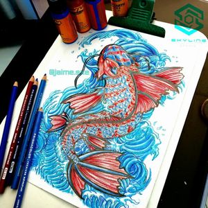 "[ARM TATTOO] ""Pez Koi"" Estilo mixto Full color Diseño propio Artista: FB/INSTA: @jaime.sxe #SkylineStudio #Tattoo #CreateYourself"