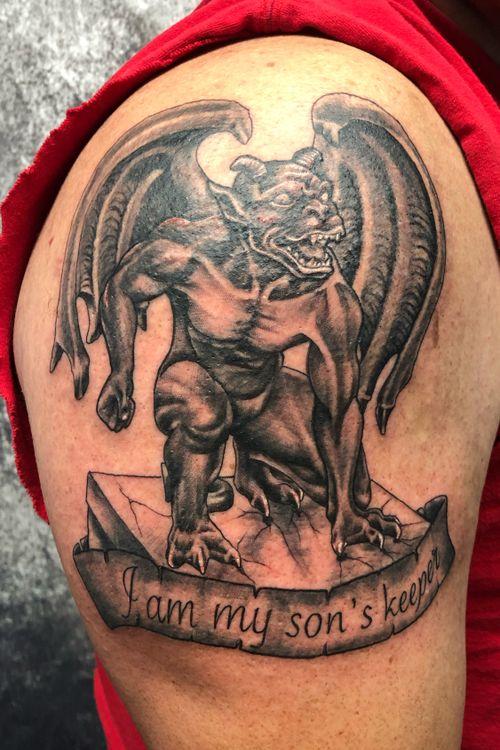 Gargoyle #tattoos #inked #tattooed #tattoolife #inkedup #inklife #TeamPeak #tattoodesign  #inkedlife #tattooist #inkaddict  #travelingartist #colortattoo  #tattooed #knoxville #knoxvilletattoo #knoxvilletattooer #peakneedles #quartzcartridges #blackandgreytattoo #yckth #knoxtatts #xionstealth #mythicalcrew #tatted4life80