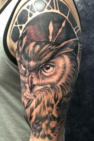Owl and clock #tattoos #inked #tattooed #tattoolife #inkedup #inklife #TeamPeak #tattoodesign  #inkedlife #tattooist #inkaddict  #travelingartist #colortattoo  #tattooed #knoxville #knoxvilletattoo #knoxvilletattooer #peakneedles #quartzcartridges #blackandgreytattoo #yckth #knoxtatts #xionstealth #mythicalcrew #tatted4life80