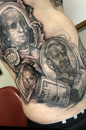 This is our fourth session on this #moneytattoo #sidepiece #blackandgrey