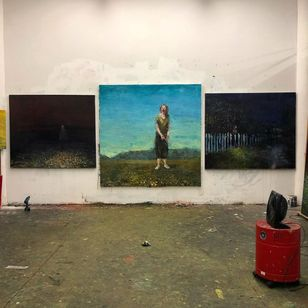 Painting by Alex Merritt in his studio #AlexMerritt #BoothGallery #FineArt #painting