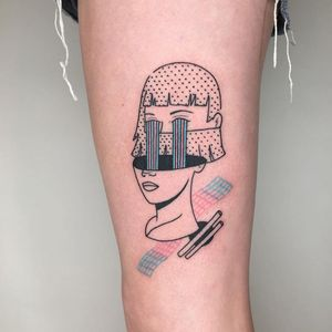 Cool tattoo by Brittny A aka blaabad #BrittnyA #Blaabad #cooltattoos #cooltattoo #besttattoos #unique #special #surreal #strange #awesome #cool #ladyhead #geometric #pattern