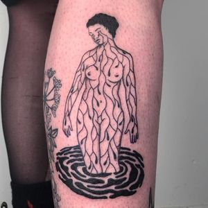 Cool tattoo by Dane Nicklas #DaneNicklas #cooltattoos #cooltattoo #besttattoos #unique #special #surreal #strange #awesome #cool #illustrative #tears #lady