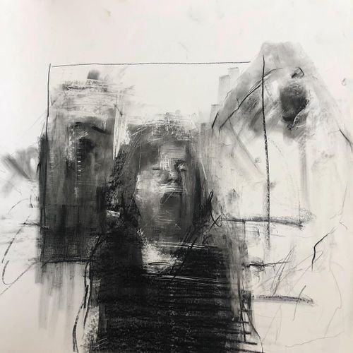 Drawing by Alex Merritt in his studio  #AlexMerritt #BoothGallery #FineArt #painting #drawing