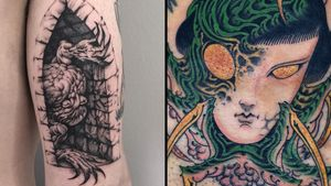 Cool tattoo on the left by Skeleton Jelly and cool tattoo on the right by Waterstreet Phantom #WaterstreetPhantom #SkeletonJelly #cooltattoos #cooltattoo #besttattoos #unique #special #surreal #strange #awesome #cool