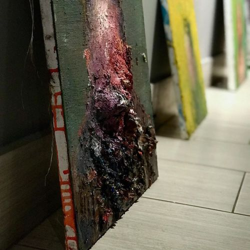 Alex Merritt paintings getting ready for hanging in Booth Gallery #AlexMerritt #BoothGallery #FineArt
