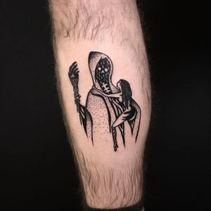 Cool tattoo by Body Ruiner #BodyRuiner #cooltattoos #cooltattoo #besttattoos #unique #special #surreal #strange #awesome #cool #blackwork #reaper #lady #fire #torch