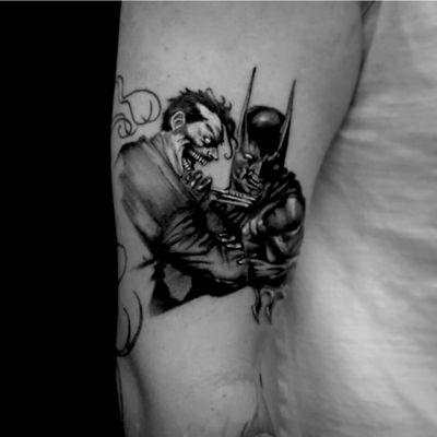 #batman #Joker #dc #blackandgray