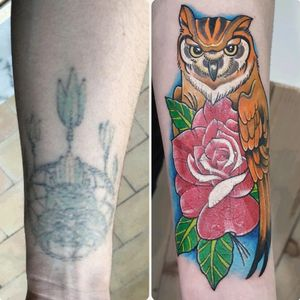 Cover up tattoo in neotradtional style