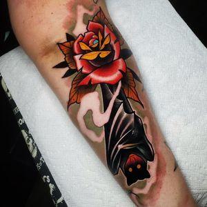 Bat and Rose Tattoo  . . . . #tattoo #tattoos #tattooartists #tattooartist #dfw #dallas #denton #lewisville #neotraditionaltattooers #neotraditionaltattoo #rebelmusetattoo #benamostattoos #dallastattooartist #flowermound #roses #rosetattoo #colortattoo