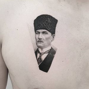 Lasting peace is sought, it is essential to adopt international measures to improve the lot of the masses.The welfare of the entire human race must replace hunger and oppression. People of the world must be taught to give up envy, avarice and rancour. . Atatürk . Done @truecanvas . #tat #tattoo #realism #ttblackink #instaart #instaink #tattoodo #realistictattoo #details #fineline #atatürk #turkey #founder #wise #portrait #blackandgrey #tattoooftheday #thommesenink #vienna #truecanvas