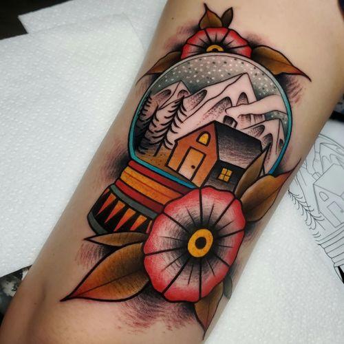 Snow Globe Tattoo  . . . #tattoo #tattoos #tattooartists #tattooartist #dfw #dallas #denton #lewisville #neotraditionaltattooers #neotraditionaltattoo #rebelmusetattoo #benamostattoos #dallastattooartist #flowermound #snowglobe #snowglobetattoo #traditionaltattoo