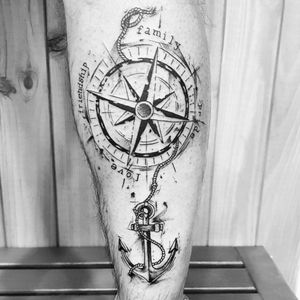 Compass and anchor in sketch style