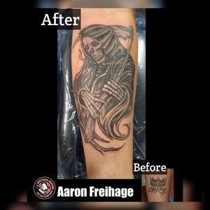 """Artist: Aaron Freihage Here's a little cover up magic for you. A Grim Reaper takes the place of a crown and the words """"Her King"""". ★★★★★★★★★★★★★★★★★★★ Southern Customs Tattoo Company 1503 Hope Mills Rd. Fayetteville, NC 28304 (910) 920-2683 ★★★★★Social Media Links★★★★★ Facebook Link: https://www.facebook.com/SouthernCustomsTattooCompany/ Instagram: @SouthernCustomsTattooCo @SouthernCustomsBrand @tattoosbyaaronf @irishted32 Google+: plus.google.com/+SouthernCustomsTattooCompany Tumblr: https://southerncustomstattoocompany.tumblr.com Yelp: https://m.yelp.com/biz/southern-customs-tattoo-company-fayetteville Foursquare link http://4sq.com/2slKpCt Twitter: @SCTATCO TattooDo: @SouthernCustomsTattooCompany Vero: SouthernCustomsTattooCompany Google Maps: https://goo.gl/maps/NXMNfhdcbmE2 ★★★★★★★★★★★★★★★★★★★ #Ink #welcome #news #sctatco #Airforce #Happy #marines #america #artist #veteran #home #love #Share #femaletattooartist #nofilter #bodypiercing #NCTattooers #funny #hopemillsnc #SkinArt #Tattoo #Custom #NCINK #FortBragg #fortbraggink #ShareNow #tattoos #army #military #fayettevillenc"""