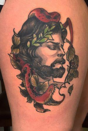 #tattoo #tattooflash #color #colortattoo #legtattoo #snaketattoo #mantattoo #neotradition #newschool #newschooltattoo #f #today #tattoos