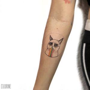 Grumpy Cat tattoo by Caroline aka Cajurine #CarolineCajurine #Cajurine  #TardarSauce #GrumpyCat #cat #kitty #petportrait #GrumpyCattattoos #GrumpyCattattoo #cattattoo #meme #petportraittattoo #funnytattoo