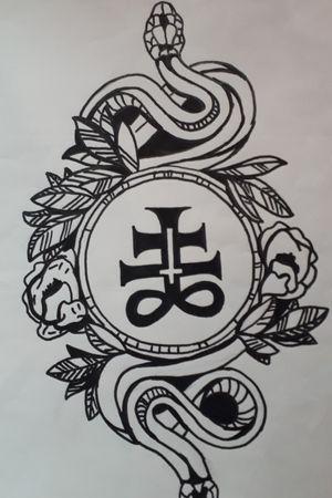 #whiteandgrey #satanic #flowers #snake