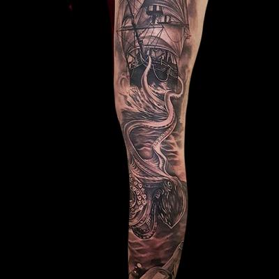 By Pippa #portrait #blackandgrey #shiptattoo #ship #kraken #krakenwakes #nauticaltattoo #nautical #realism #tentacles #seamonster #greekmyths #mythology #myths #literarytattoo #messageinabottle