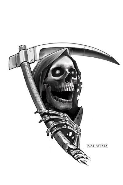 Design available #grimreaper #halloweentattoo #halloween #skull