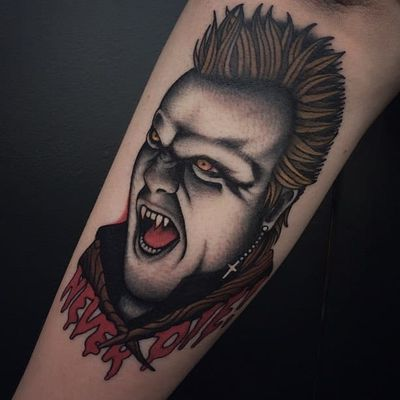 Lost Boys tattoo by Moira Ramone #MoiraRamone #monstertattoos #monstertattoo #monster #demon #vampire #devil #ghoul #ghost #darkart #horror #LostBoys #movietattoo #film
