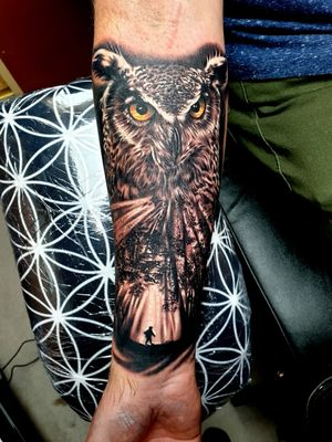 Black and grey owl piece I done not too long ago, want more work like this 😁