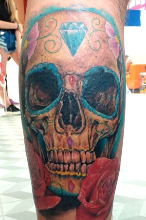 #skulltattoo #realismocolorido #realistic #inked #colorful #chicanostyle #rose