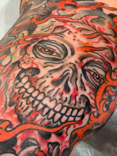 Monster tattoo by Todd Noble #ToddNoble #monstertattoos #monstertattoo #monster #demon #vampire #devil #ghoul #ghost #darkart #horror #zombie #skull #death #color #neojapanese