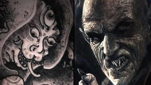 Monster tattoo on the left by Ganji and Dracula tattoo on the right by Eliot Kohek #EliotKohek #monstertattoos #monstertattoo #monster #demon #vampire #devil #ghoul #ghost #darkart #horror