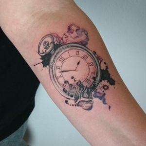 #clock #watch #watercolor #splatter #ink #handprint #children #family #baby #birthdate #splashes