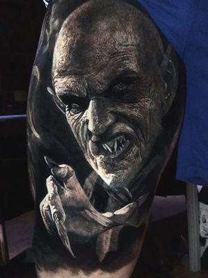 Monster tattoo by Eliot Kohek #EliotKohek #monstertattoos #monstertattoo #monster #demon #vampire #devil #ghoul #ghost #darkart #horror #realism #hyperrealism #Dracula #blackandgrey