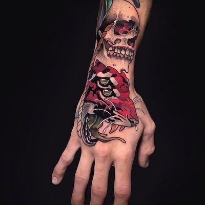 Monster tattoo by Igor Puente #IgorPuente #monstertattoos #monstertattoo #monster #demon #vampire #devil #ghoul #ghost #darkart #horror #tiger #leopard #handtattoo #skull
