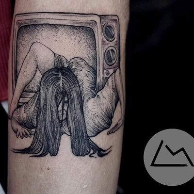 Monster tattoo by Landon Morgan #LandonMorgan #monstertattoos #monstertattoo #monster #demon #vampire #devil #ghoul #ghost #darkart #horror #TheRing #movietattoo #film