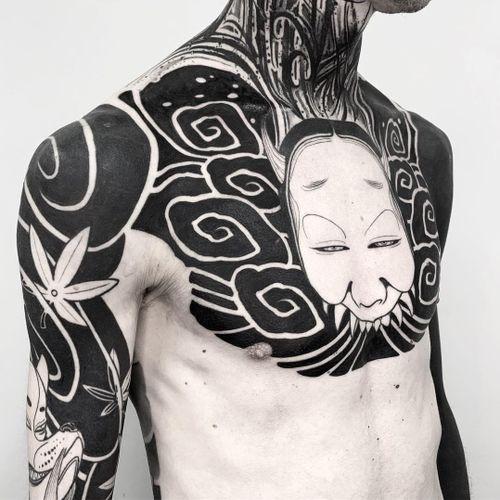 Monster tattoo by Oscar Hove #OscarHove #monstertattoos #monstertattoo #monster #demon #vampire #devil #ghoul #ghost #darkart #horror #neojapanese #blackwork #hannya